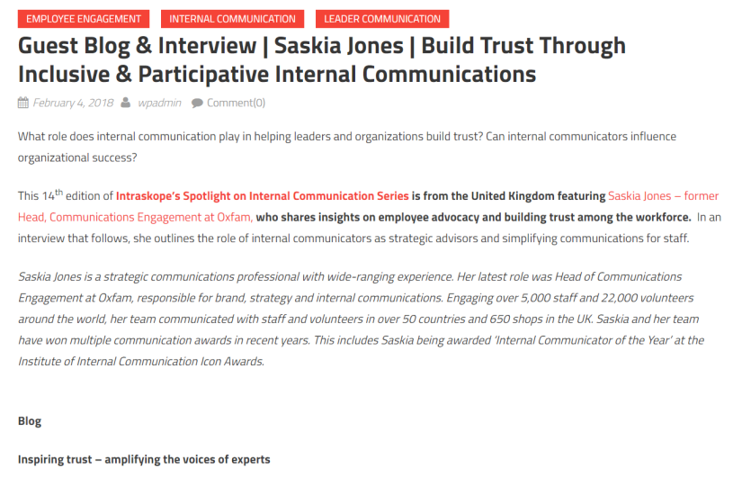Intraskope guest blog Saskia Jones